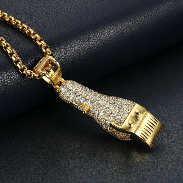 14K Gold Iced Barber Shop Clippers Pendant