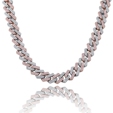 14mm Two-Tone Diamond Prong Link Chain