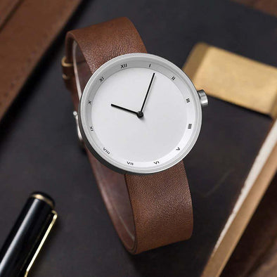 Simple Leather Strap Watch (White)