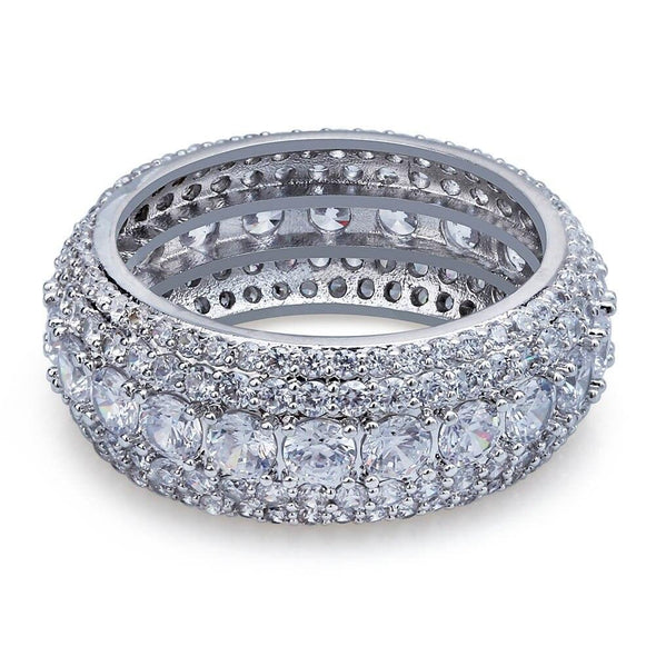 White Gold Iced 5 Layer Diamond Band Ring