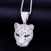 White Gold Iced Leopard Pendant