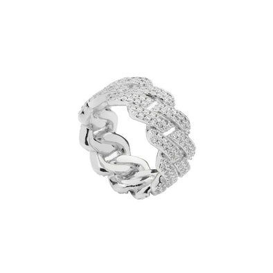 White Gold Iced Prong Cuban Ring