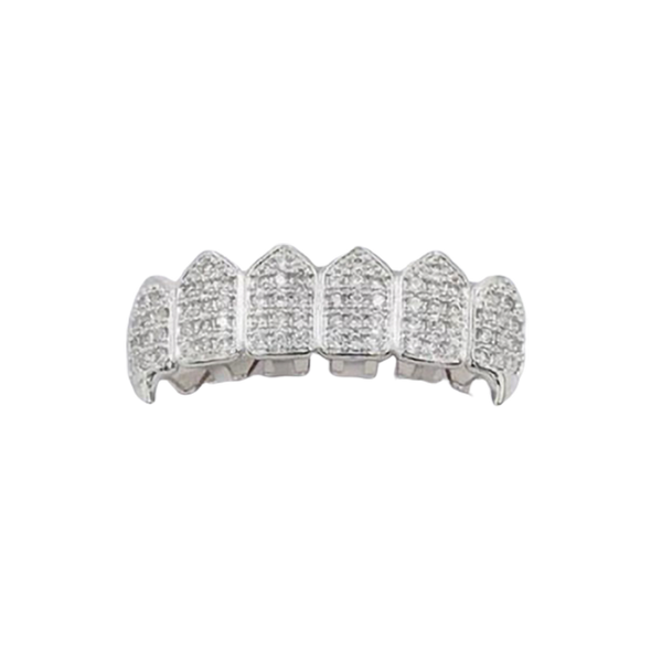 White Gold CZ Studded Teeth Grillz