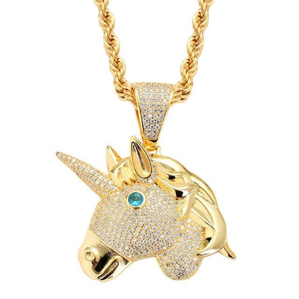 14K Gold Iced Unicorn