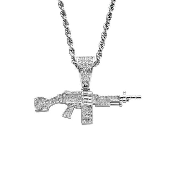 White Gold Iced AK-47 Pendant
