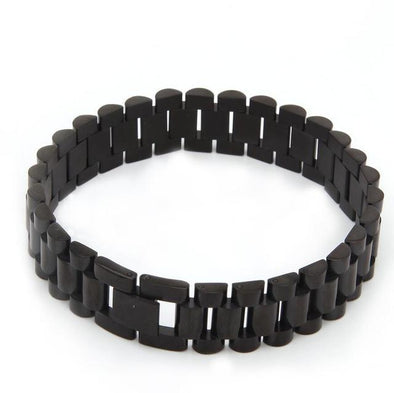 Stainless Steel Rolex Link Bracelet (15mm) in Black