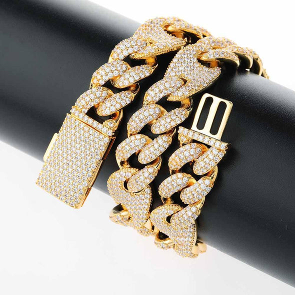 16mm 14k Gold Iced Diamond Cuban Gucci Link Chain