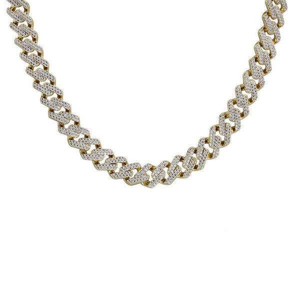 14mm 14K Gold Iced Prong Cuban Link Chain