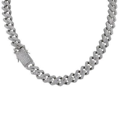 14mm White Gold Iced Prong Cuban Link Chain