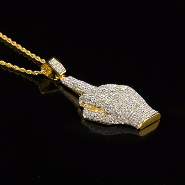 14K Gold Iced Middle Finger Necklace