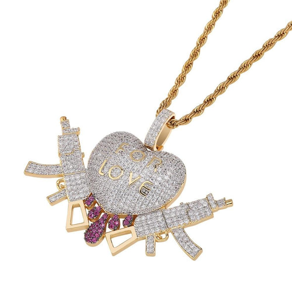 14K Gold Iced Gun Love Pendant