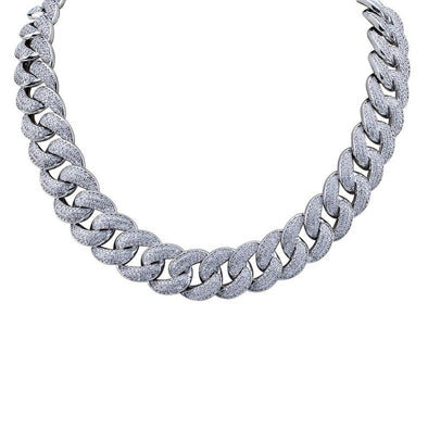 18mm White Gold Iced Cuban Link Chain