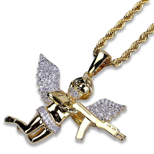 14K Gold Iced Angel Of Death Pendant