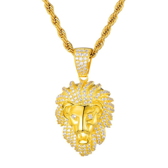 14K Gold Iced Lion Pendant