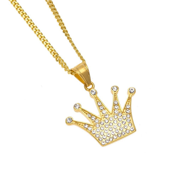 14K Gold Iced King Crown Necklace