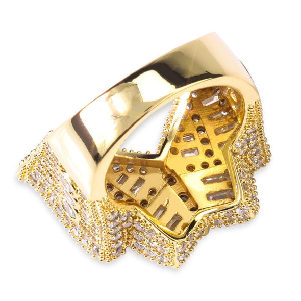 14k Gold Iced Baguette Butterfly Ring