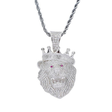 14K White Gold Iced Roaring Lion Pendant