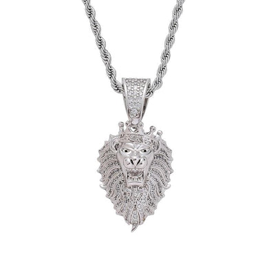 14K White Gold Lion Pendant
