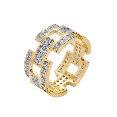 The 14K Gold Iced .925 Sterling Silver Link Ring