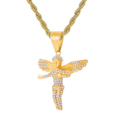 14K Gold Iced Mini Angel Necklace