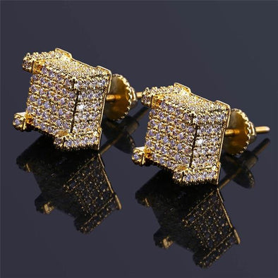 925 Sterling Gold Paved Rock Stud Earrings