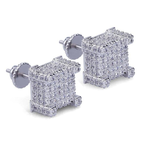 White Gold Iced Paved Diamond Rock Stud Earrings