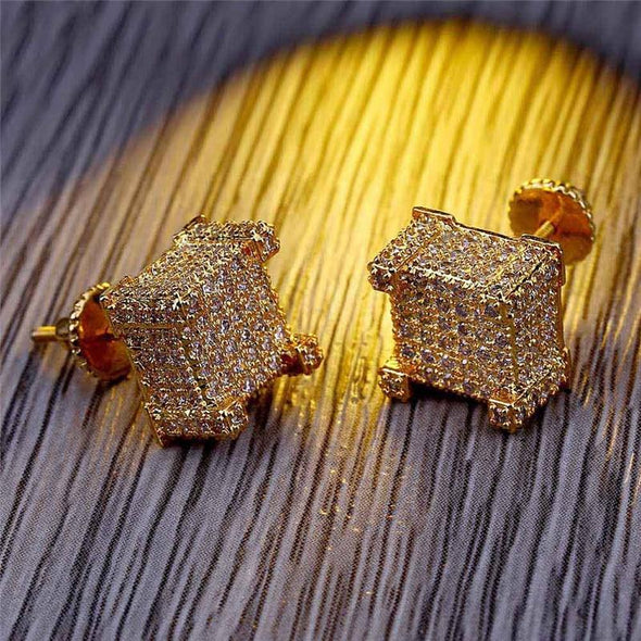 14K Gold Iced Paved Diamond Rock Stud Earrings