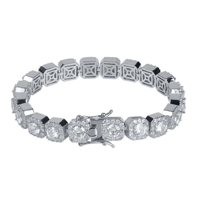 10mm White Gold Iced Clustered Tennis Bracelet