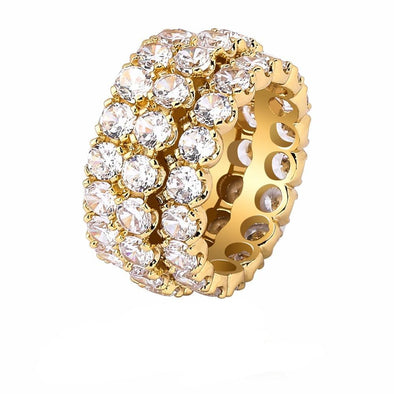 14k Gold Triple Row Diamond Ring