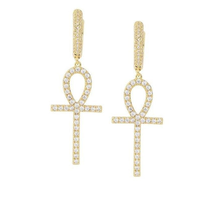Iced Ankh Cross Earrings