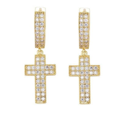 14k Gold Iced Cross Earrings