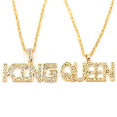 14K Gold King and Queen Pendant
