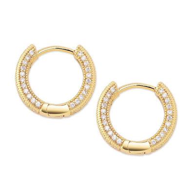 14K Gold Iced Circle Hoop Earrings