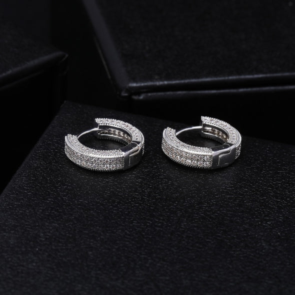Iced Circle Hoop Earrings in White Gold