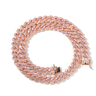 9mm Rose Gold Iced Cuban Link Chain