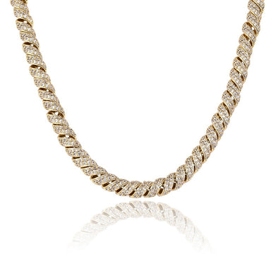 10mm 14K Gold Iced Paved Spiral Chain
