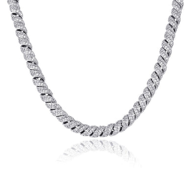 10mm White Gold Iced Paved Spiral Chain