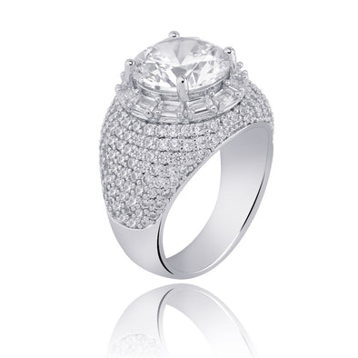 White Gold Iced Cluster Diamond Band Ring