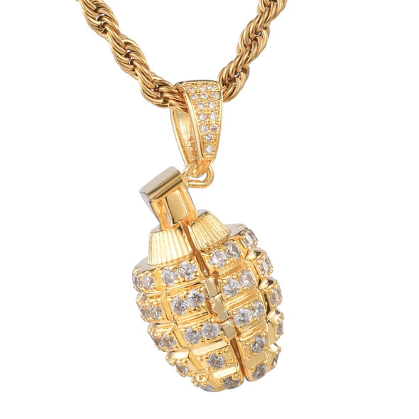 14K Gold Iced Grenade Necklace
