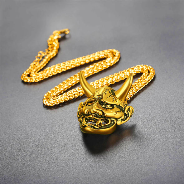 14K Gold Oni Demon Necklace