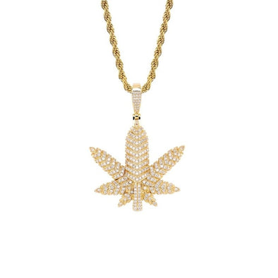 14K Gold Iced Pot Leaf Pendant