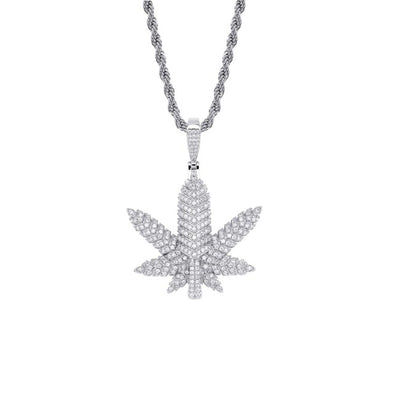White Gold Iced Maple Leaf Pendant