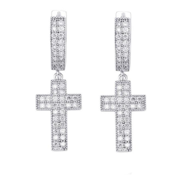 White Gold Iced Cross Earrings