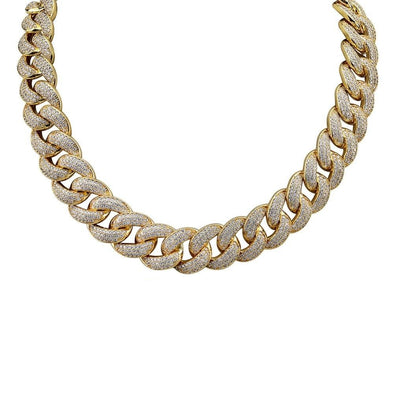 18mm 14K Gold Iced Cuban Link Chain