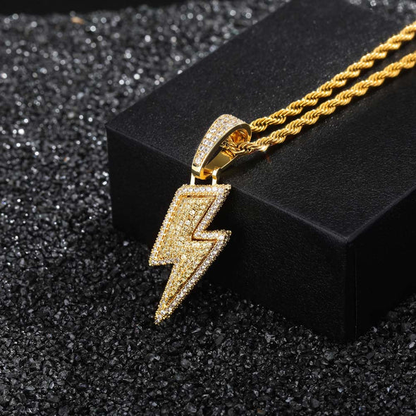 14K Gold Iced Lightning Bolt Pendant