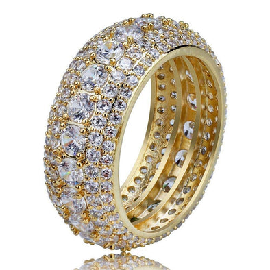 14K Gold Iced 5 Layer Diamond Band Ring