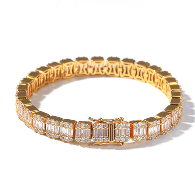 14K Gold 8mm Iced Baguette Bracelet