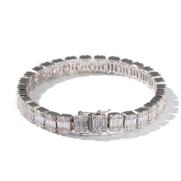 8mm White Gold Iced Baguette Bracelet