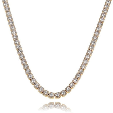 10mm 14K Gold Iced Solitaire Tennis Chain