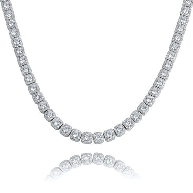 10mm White Gold Iced Solitaire Tennis Chain